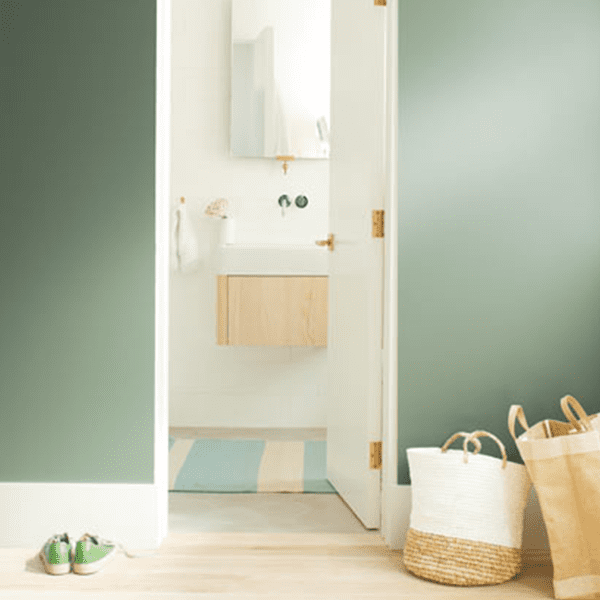 Room Scene with Benjamin Moore Colour Trends 2020 Cushing Green