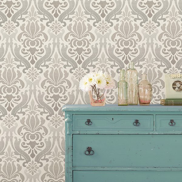 room scene with grey nouveau damask wallpaper