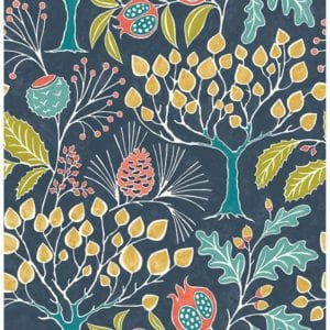 groovy garden navy wallpaper swatch