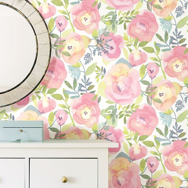 room scene with peachy keen pink wallpaper