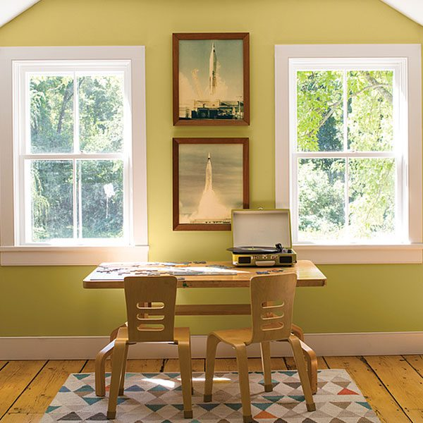 office painted with green hydrangea
