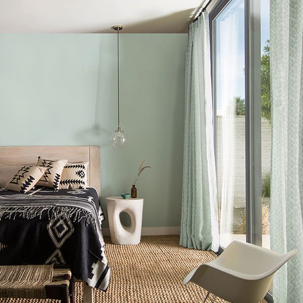 bedroom painted with palladian blue