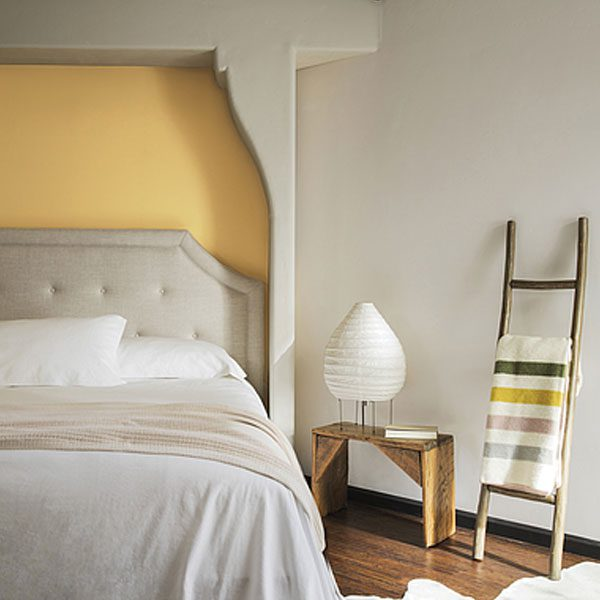 bedroom painted with york harbour yellow