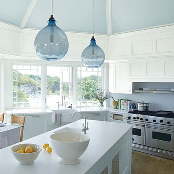 kitchen with walls painted with distant gray