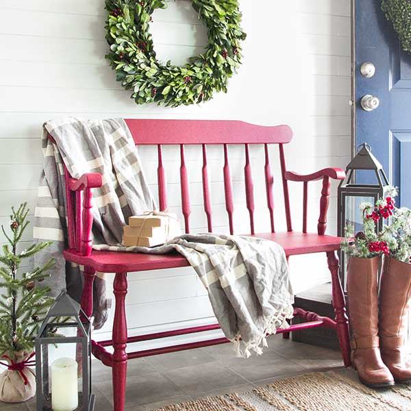bench painted in cranberry fusion mineral paint