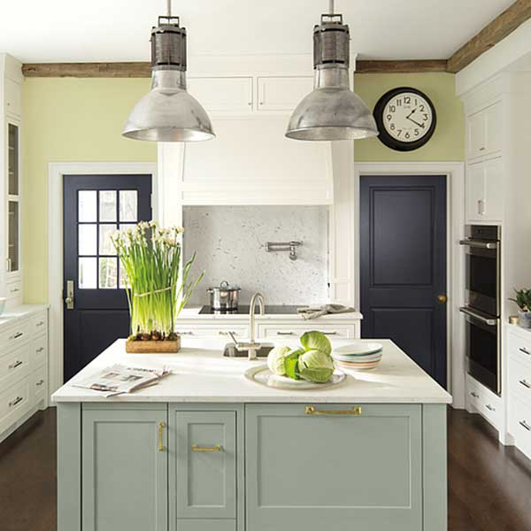 kitchen with island painted in flora
