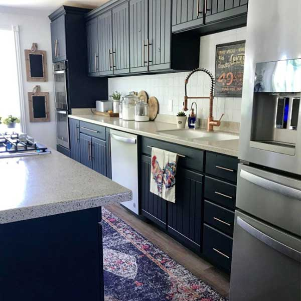 kitchen with cabinets painted in ash fusion paint