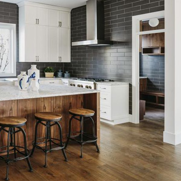 kitchen scene with floor stained in american walnut