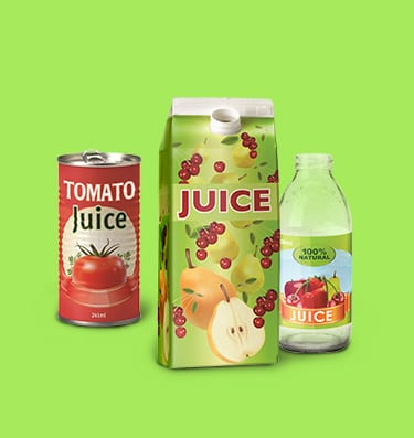 A can of tomato juice, a large juice carton and a bottle of juice with a green background.