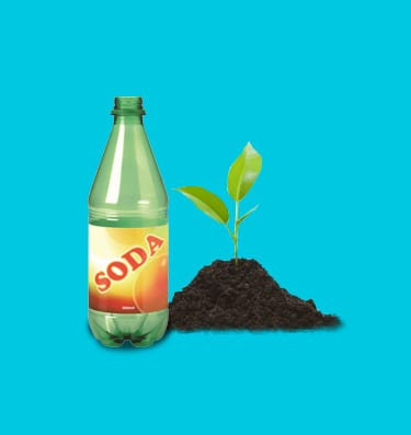A green soda bottle with a plant growing from soil next to it on a blue background.